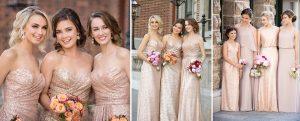 Gold & Blush Bridesmaid dresses- sequin