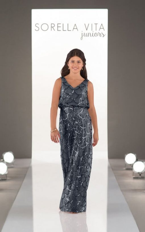 Jr Bridesmaid Dress - J4020_sapphire blue